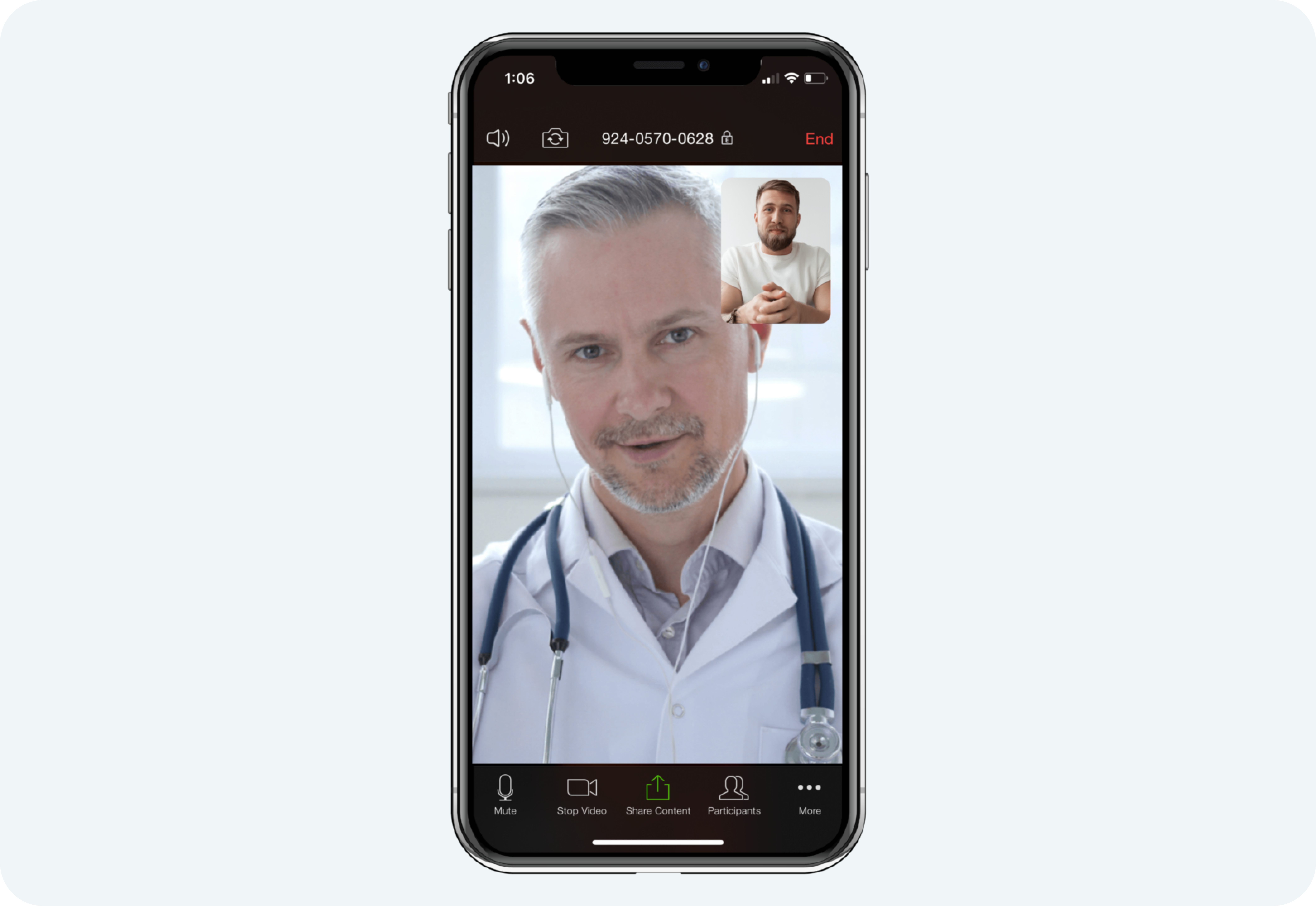 Doctor and patient telehealth visit via Zoom