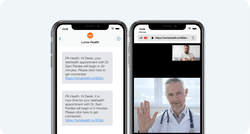 Patient and doctor telehealth visit