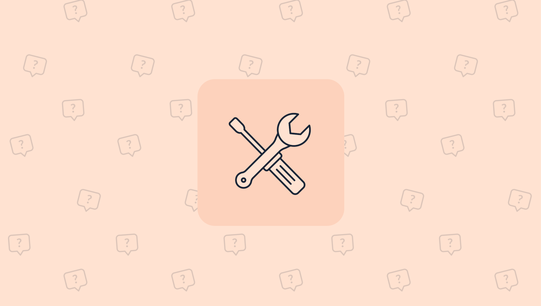 tools icon on top of a question mark and chat icon pattern