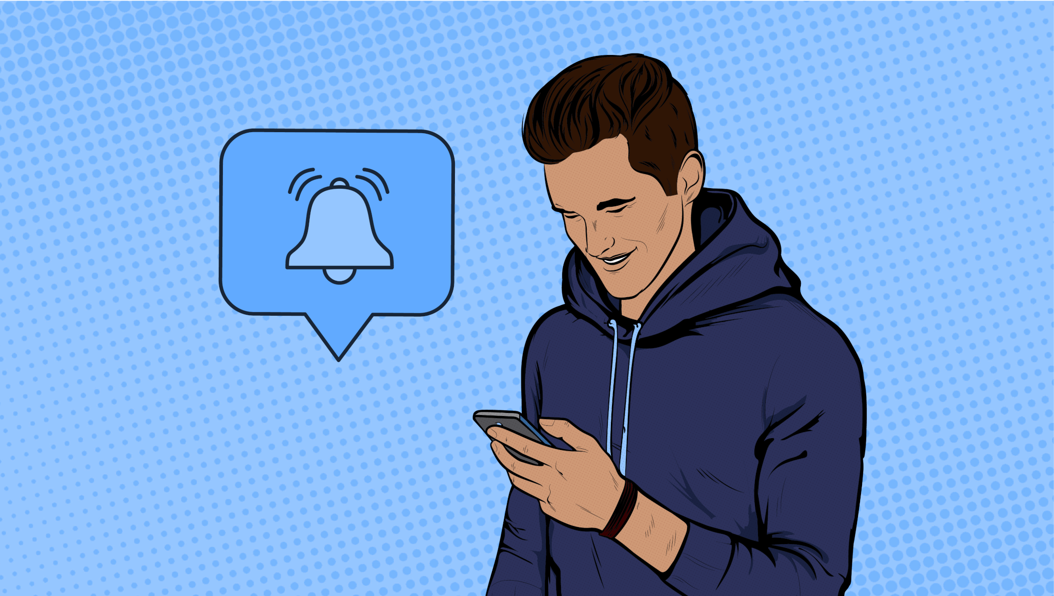 young man on phone getting notification