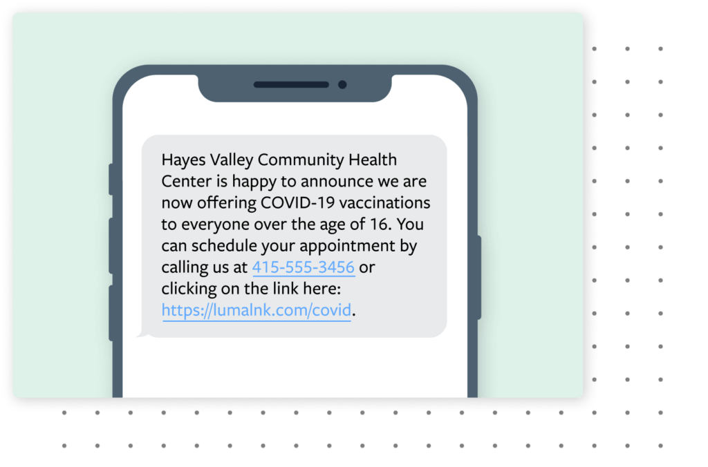 a text message on a phone announcing that patients can schedule a covid-19 vaccination appointment by calling or clicking on the link