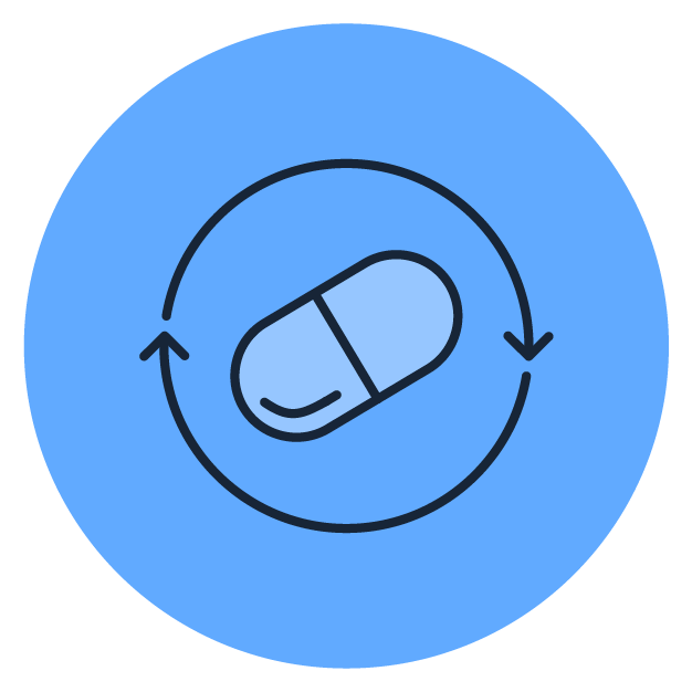 blue pill icon with arrows circling it and a blue circle background