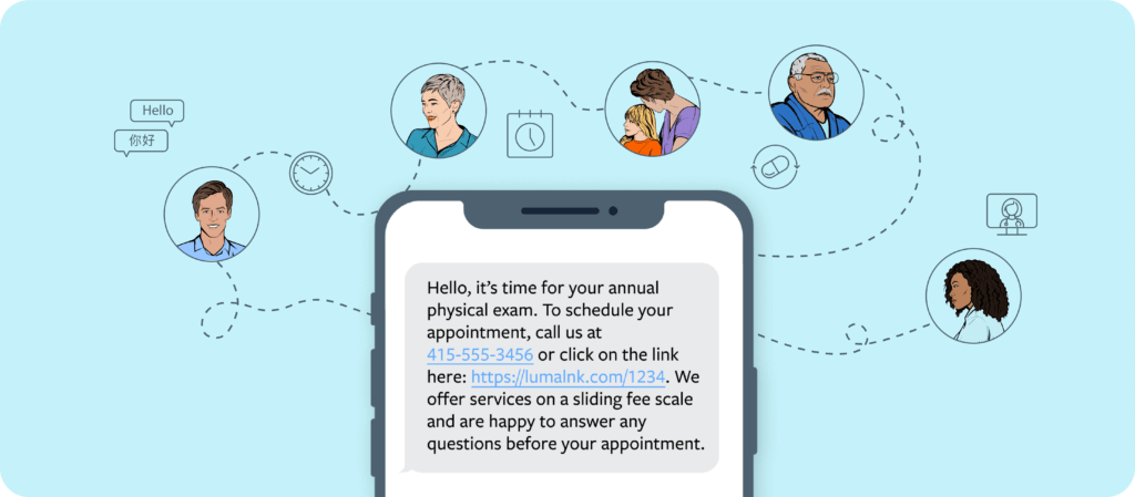 text message on a phone stating it is time for a patient's physical exam with a phone number and a link with icons of the different patients that can receive it